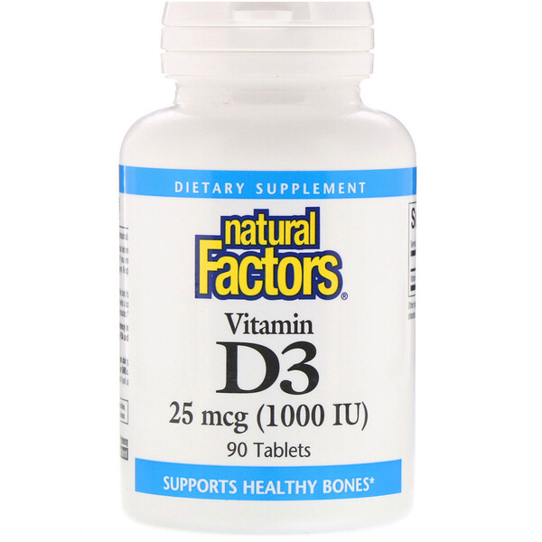 Natural Factors, Vitamin D3, 25 mcg (1,000 IU), 90 Tablets