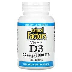 Natural Factors, 維生素 D3,25 微克 (1,000 國際單位),180 片