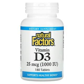 Natural Factors, Vitamin D3, 25 mcg (1,000 IU), 180 Tablets