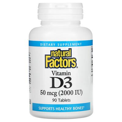 Natural Factors Vitamin D3, 50 mcg (2,000 IU), 90 Tablets