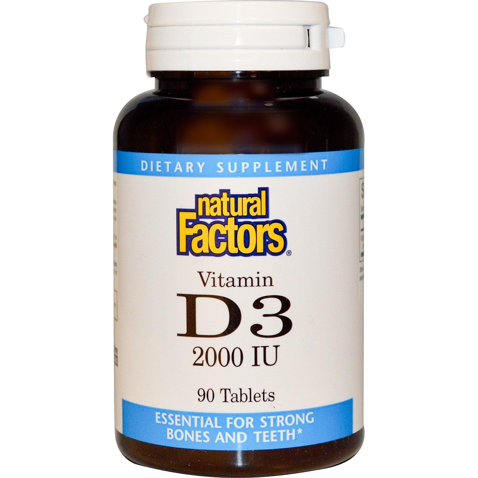 Natural Factors, Витамин D3, 2000 IU, 90 таблеток