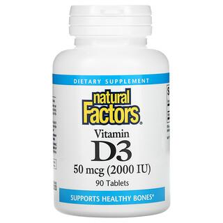 Natural Factors, Vitamin D3, 50 mcg (2,000 IU), 90 Tablets