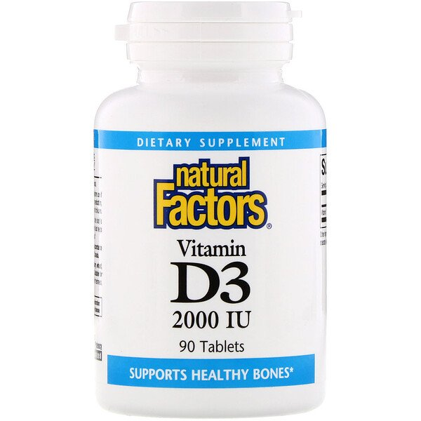 Natural Factors, Vitamin D3, 2000 IU, 90 Tablets (Discontinued Item)