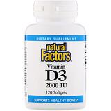 Natural Factors, Витамин D3, 25 мкг (1000 МЕ), 90 таблеток - iHerb