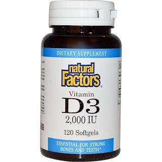 Natural Factors, Vitamin D3, 2000 IU, 120 Softgels