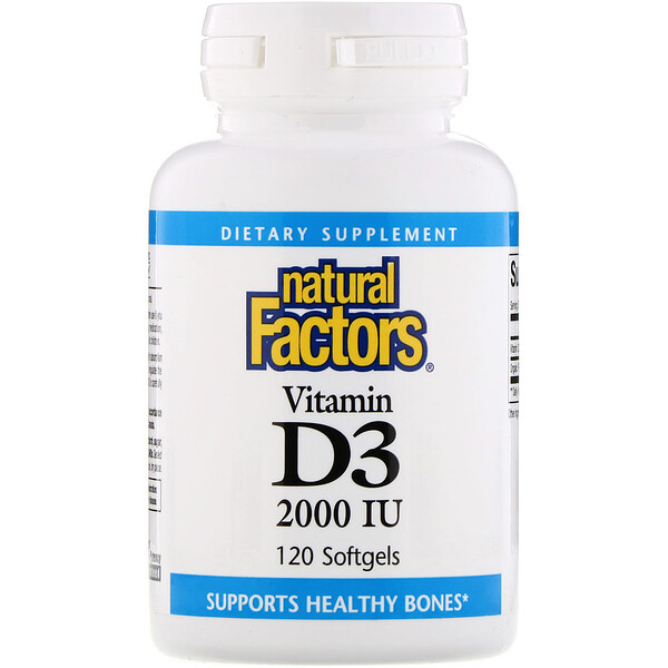 Natural Factors, Vitamin D3, 2 000 IE, 120 weiche Gelkapseln