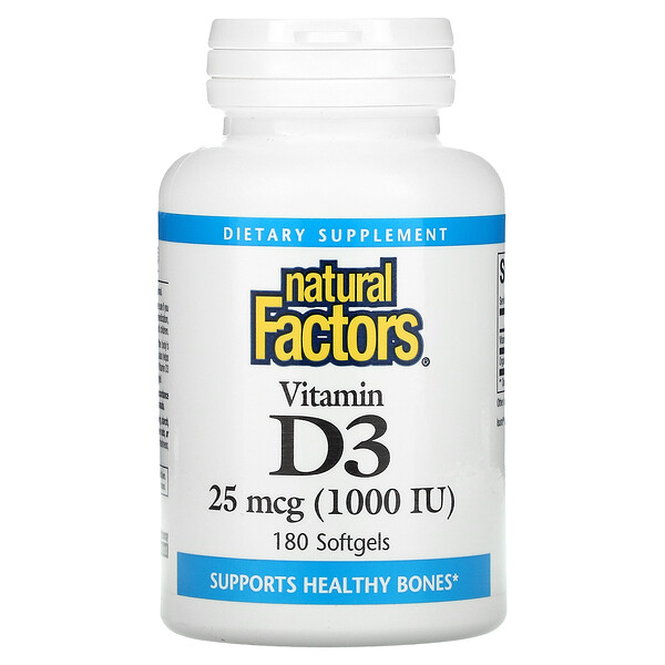 Vitamin D3, 25 mcg (1,000 IU), 180 Softgels