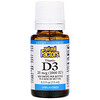 Natural Factors, Витамин D3 в каплях, без ароматизаторов, 25мкг (1000МЕ), 15мл (0,5жидкойунции)