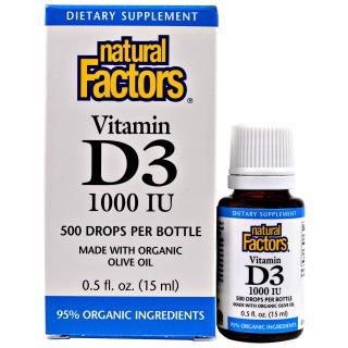 Natural Factors, Vitamin D3 Drops, 1000 IU, 0.5 fl oz (15 ml)