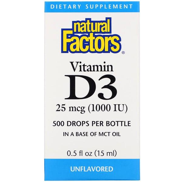 Natural Factors, Vitamin D3 Drops, 25 mcg (1,000 IU), 0.5 fl oz (15 ml)