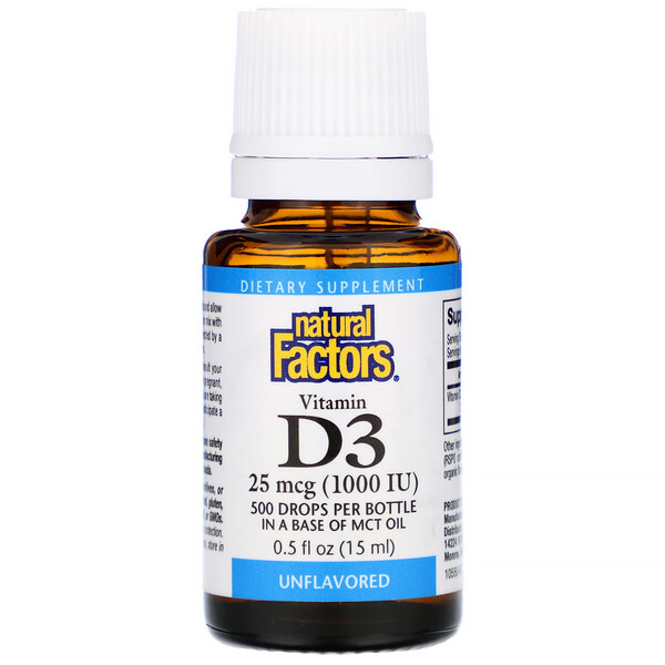 Natural Factors, Vitamin D3 Drops, Unflavored, 25 mcg (1,000 IU), 0.5 fl oz (15 ml)
