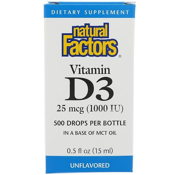 Natural Factors, Капли с витамином D3, 1000 МЕ, 0,5 жидкой унции (15 мл)