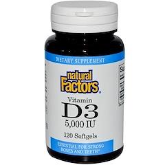 Natural Factors, فيتامين د3، 5000 وحدة دولية، 120 كبسولة هلامية