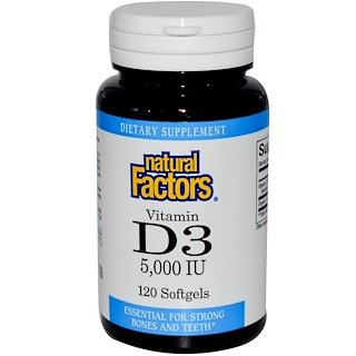 Natural Factors, Vitamin D3, 5000 IU, 120 Softgels