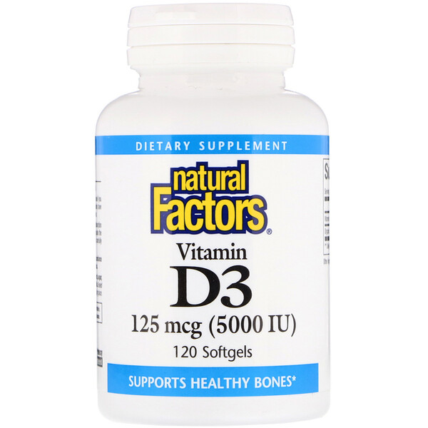 Natural Factors, Vitamin D3, 125 mcg 5,000 IU, 120 Softgels