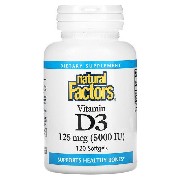 Vitamin D3, 125 mcg (5,000 IU), 120 Softgels
