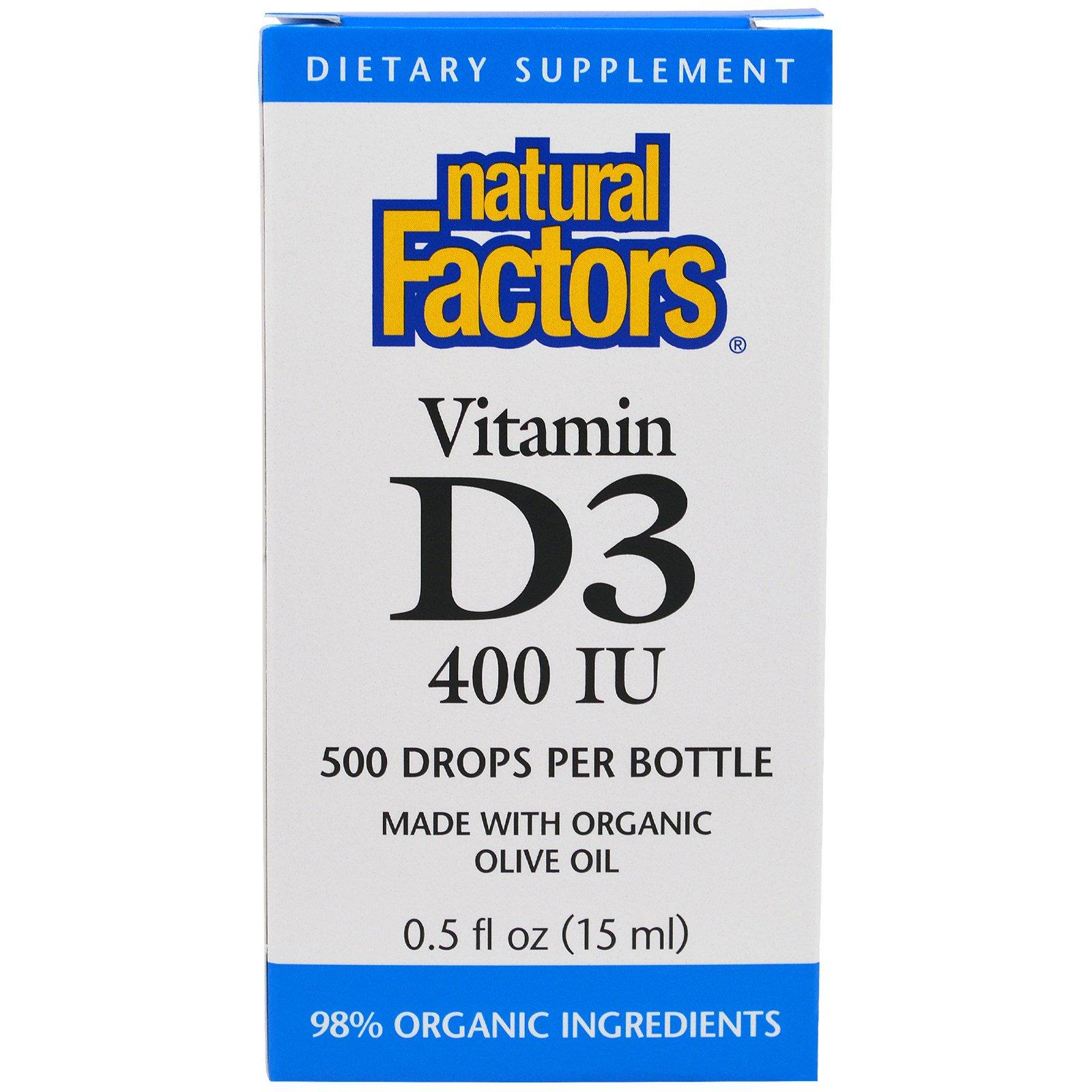 Natural Factors, Капли для детей с витамином D3, 400 IU, 15 мл