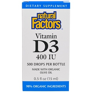 Natural Factors, Vitamin D3 Drops , 400 IU, 0.5 fl oz (15 ml)