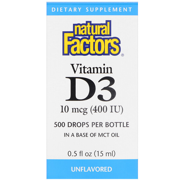 Natural Factors, Gotas de vitamina D3, sin sabor, 400 UI, 0.5 fl oz (15 ml)