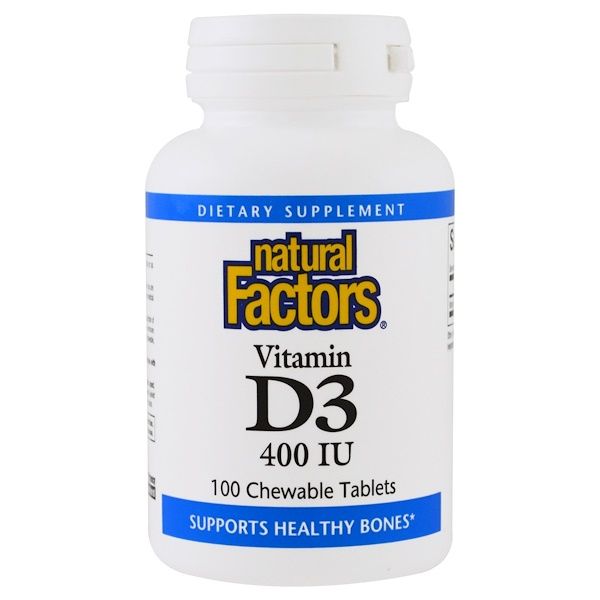 Natural Factors, Vitamin D3, Strawberry Flavor, 400 IU, 100 Chewable Tablets