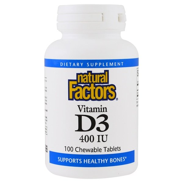 Natural Factors, Vitamina D3, sabor frutilla, 400 IU, 100 comprimidos masticables