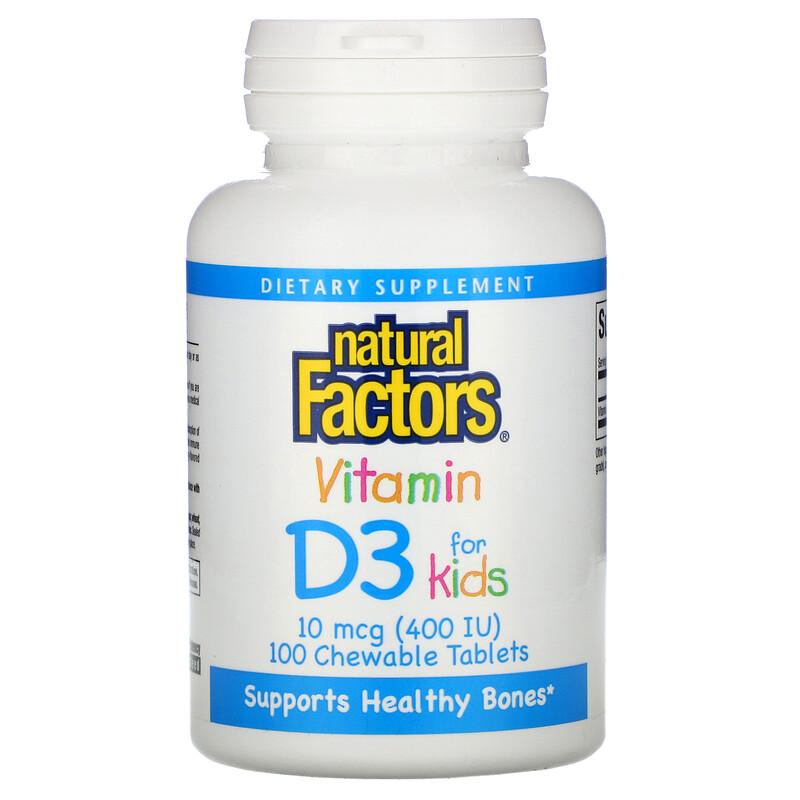 Natural Factors, 維生素 D3,草莓味,400 國際單位,100 粒咀嚼片