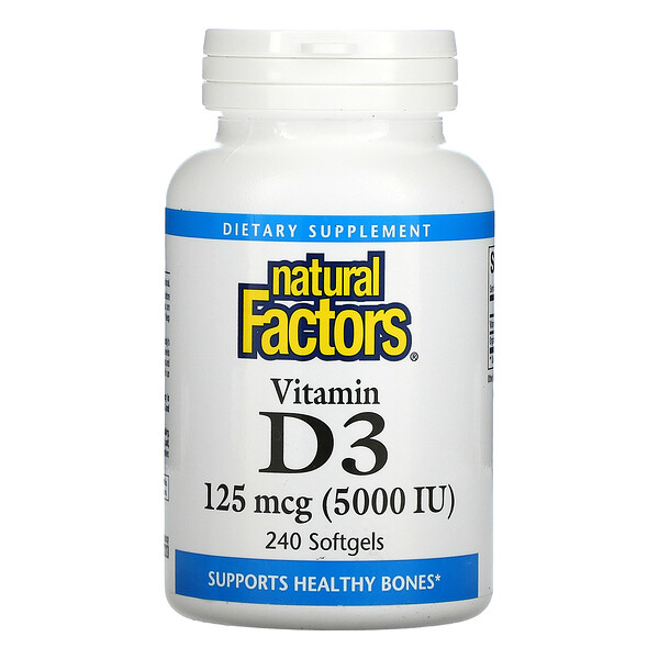 Vitamin D3, 125 mcg (5,000 IU), 240 Softgels