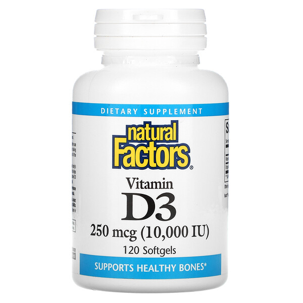 Vitamin D3, 250 mcg (10,000 IU), 120 Softgels