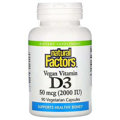 Купить Natural Factors Vegan Vitamin D3, 50 mcg (2, 000 IU), 90 Vegetarian Capsules