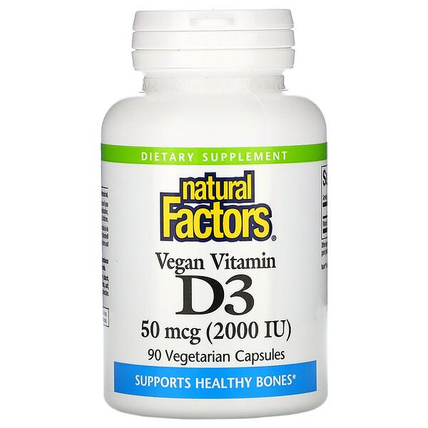 Natural Factors, Vegan Vitamin D3, 50 mcg (2,000 IU), 90 Vegetarian Capsules