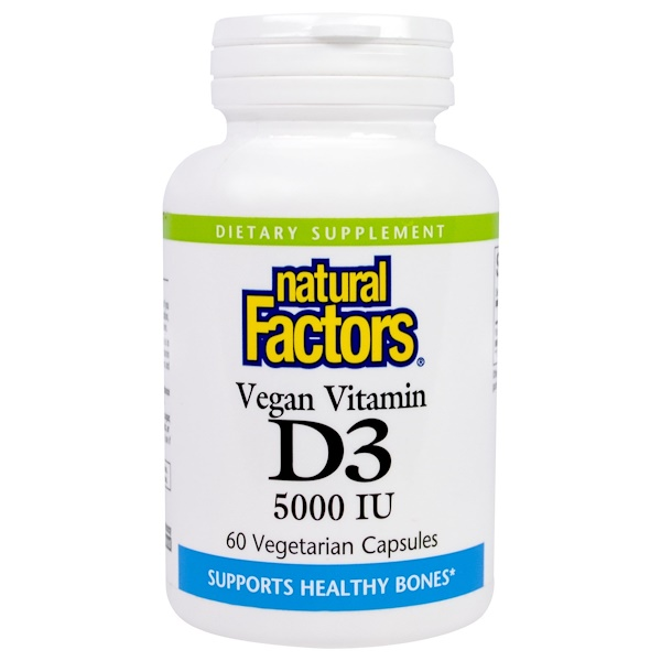 Natural Factors, Vegan Vitamin D3, 5000 IU, 60 Veggie Caps (Discontinued Item)