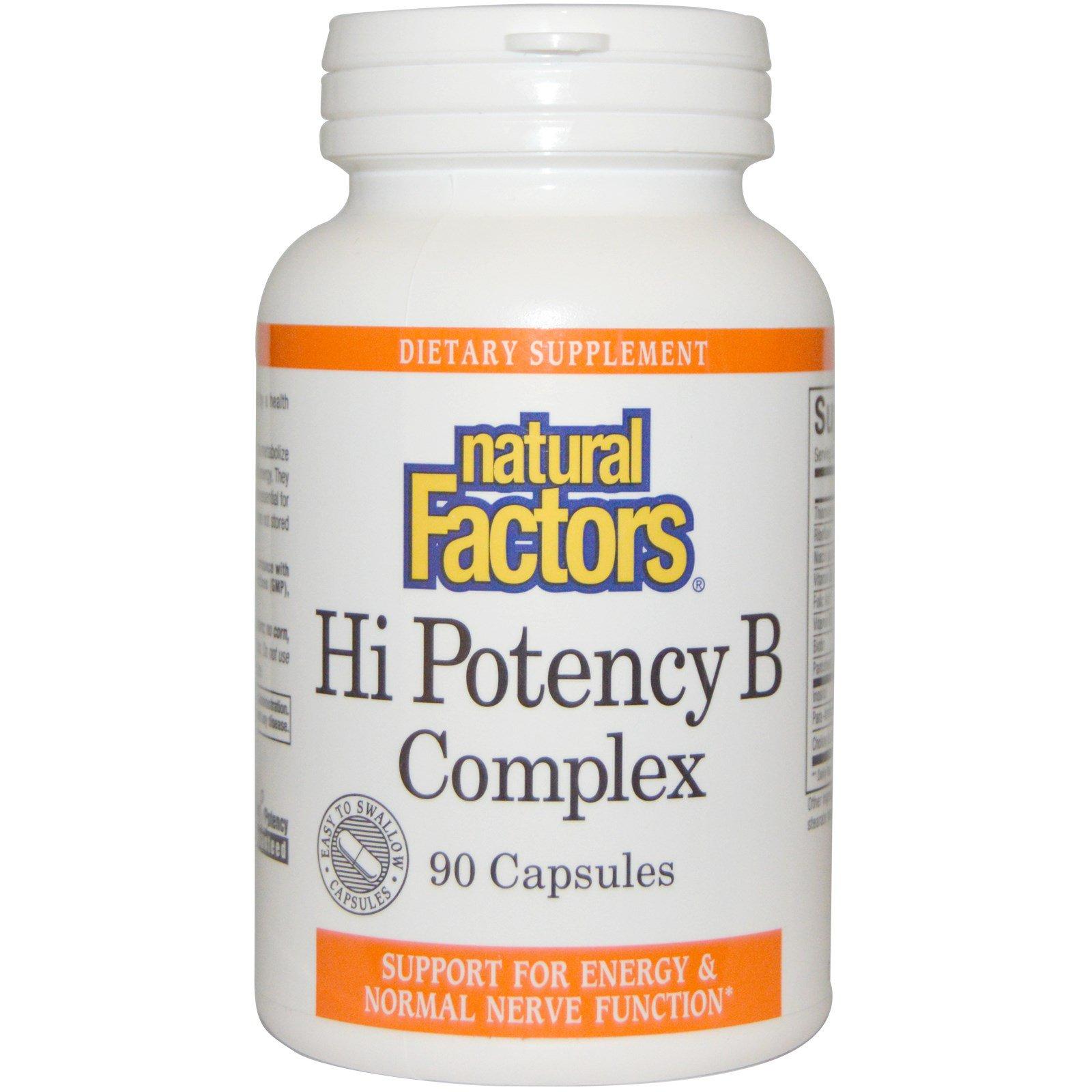 Natural Factors, КВысокоэффективный комплекс витамина B, 90 капсул