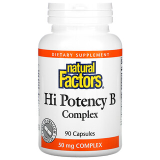 Natural Factors, تركيز عالي من فيتامين ب المركب، 90 كبسولة