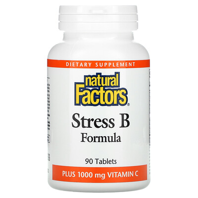 Natural Factors Stress B Formula, Plus 1,000 mg Vitamin C, 90 Tablets