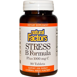 Natural Factors, Stress B Formula, Plus 1000 mg C, 90 Tablets