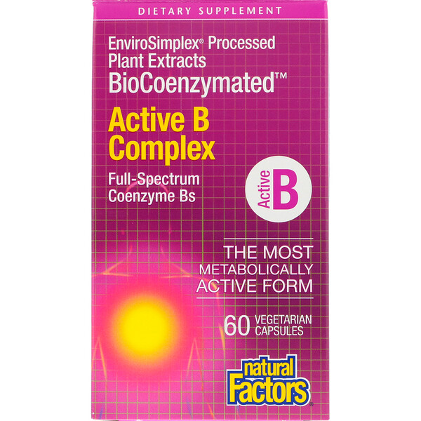 Natural Factors, BioCoenzymated, complejo activo B, 60 cápsulas vegetarianas