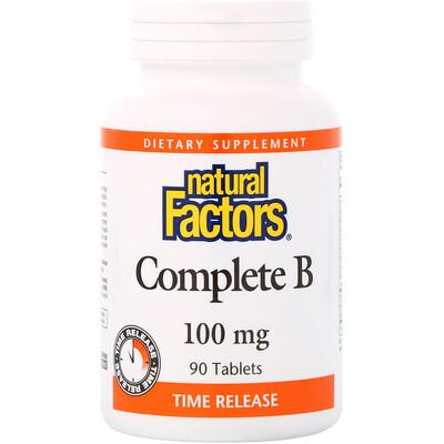 Купить Natural Factors полный комплекс витаминов группыВ, 100мг, 90таблеток