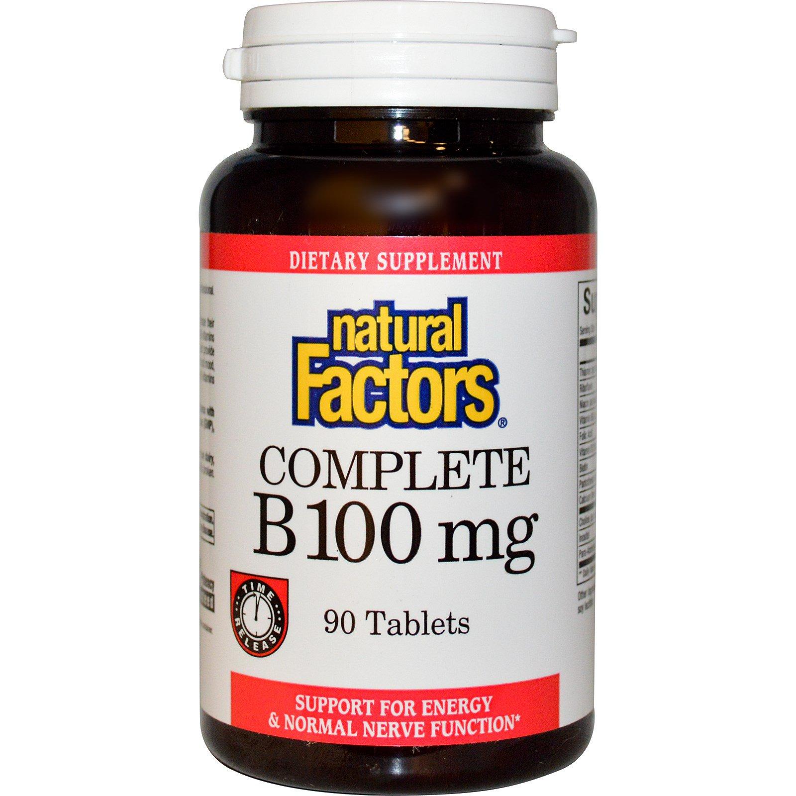 Natural Factors, Витамины «Все B», 100 мг, 90 таблеток