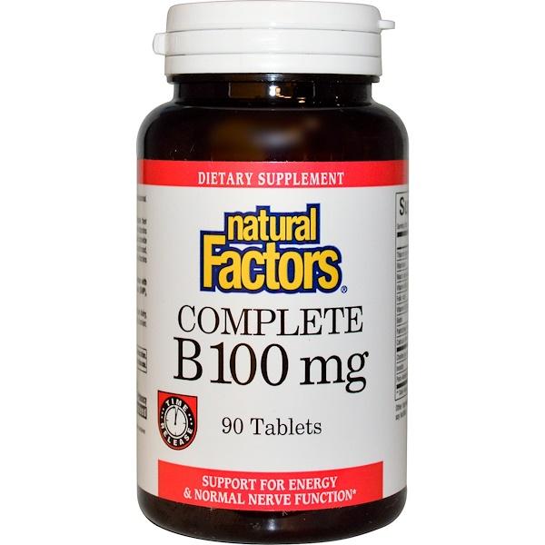 Natural Factors, 全族維生素B,100毫克,90片