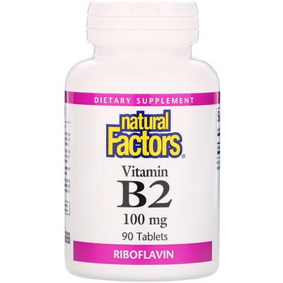 Natural Factors Vitamin B2, Riboflavin, 100 mg, 90 Tablets