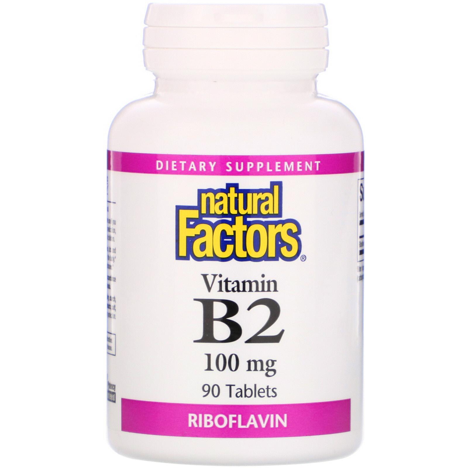 Natural Factors, Vitamin B2 Riboflavin, 100 mg, 90 Tablets