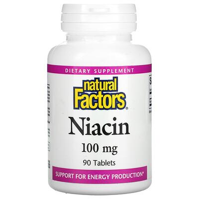 Natural Factors Ниацин, 100 мг, 90 таблеток