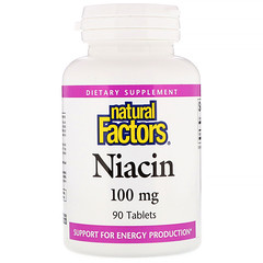 Natural Factors, ナイアシン, 100 mg, 90錠