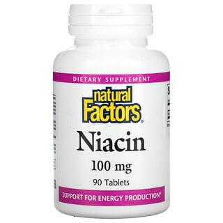 Natural Factors, نياسين، 100 ملجم، 90 قرصًا
