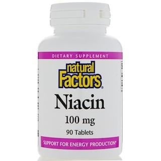 Natural Factors, Niacin, 100 mg, 90 Tablets