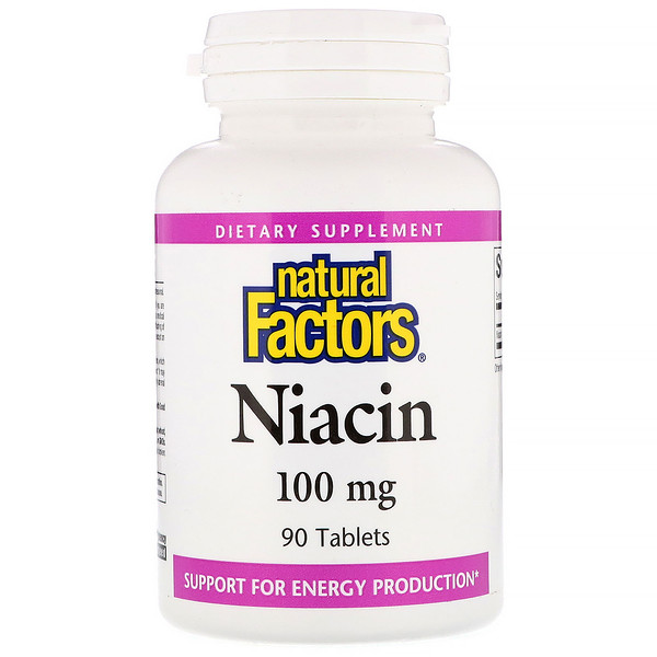 Natural Factors, Niacin, 100 mg, 90 Tabletas