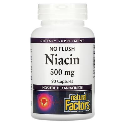 Natural Factors Ниацин, не вызывающий покраснения кожи, 500 мг, 90 капсул