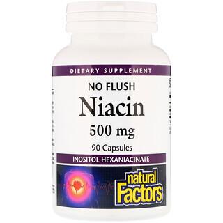 Natural Factors, 紅潮しないナイアシン、500 mg、 90 錠剤