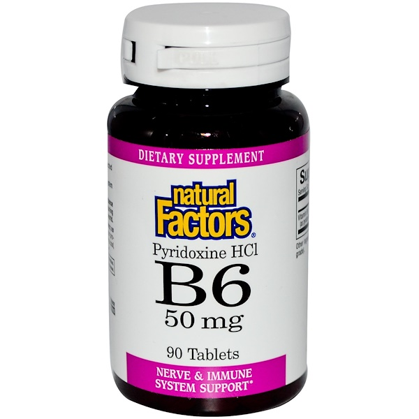 Natural Factors, B6, Pyridoxine HCl, 50 mg, 90 Tablets (Discontinued Item)
