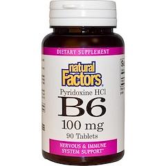 Natural Factors, B6, Pyridoxine HCl, 100 mg, 90 Tablets
